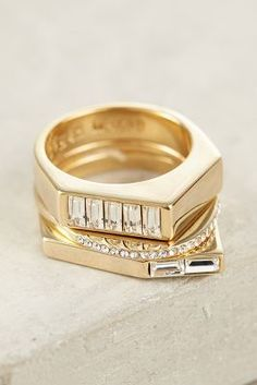 Sarah Magid Gilded Collage Stacked Rings #AnthroFave