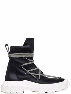 353e587e88da40 RICK OWENS OFF-THE-RUNWAY LACEUP HIKING BOOTS IN BLACK Hiking Boots
