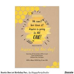 Shop Rustic Bee Birthday Party Invitation created by HappyPartyStudio. 1st Birthday Themes, 1st Birthday Party Invitations, Girl First Birthday, Boy Birthday Parties, Birthday Ideas, Birthday Banners, Farm Birthday, Birthday Decorations, Happy Birthday