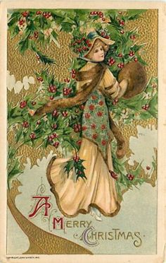 Christmas, Winsch 1910 No WIN01-1, Schmucker, Woman with Muff, Holly Dress