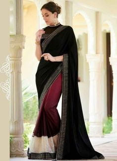 Dazzling Black And Purple Georgette Patch Border Work Saree http://www.angelnx.com/Sarees/Party-Wear-Sarees