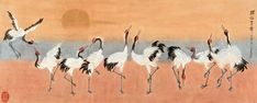 Large landscape painting of a flock of ten red-crested cranes in various positions, flying against the warm background of a sunset. dancing cranes Wall Art By: Lu Bisa from Great Big Canvas. Framed Prints, Canvas Prints, Art Prints, Flock Of Birds, Canvas Frame, Big Canvas, Orange Art, Wildlife Art, Asian Art