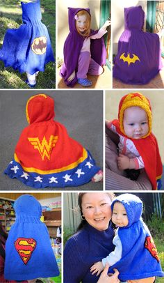 Knitting Patterns for Superhero Hooded Capes for Babies and Children - 3 superhero designs available: Batman/Batgirl, Wonder Woman, Superman/Supergirl. 5 sizes: 1-3 months, 6-9 months, 12-18 months, 2 years and 3-4 years. DK weight yarn. Designed by tiffanysknitting