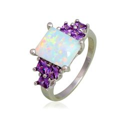 White Fire Opal And Purple Cubic Zirconia  White Gold Filled Ring Varius Sizes