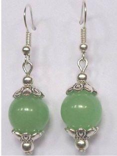 Eett Wholesale Beautiful Tibet Silver Earrings Green Jade Earrings Heat | eBay