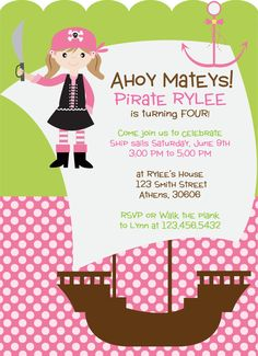 Girl Pirate Theme Party Invitation by cohenlane on Etsy, $8.00