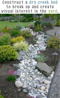 36. Dry Creek Bed Garden: A dry creek bed is a good idea to break up a large portion of a yard and to add visual interest. It is low maintenance, helps redirect rain water on a slope, and it looks amazing! Advertisement