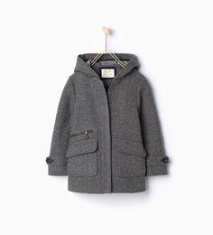 Image 1 of Fabric three quarter length coat with hood from Zara