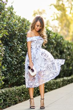 Of the shoulder dresses and tops are perfect for that romantic feel. Especially love this lavender color and floral print dress.