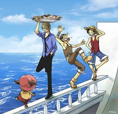 Monkey D Luffy Sanji Vinsmoke Usopp Tony Tony Chopper Straw Hat Crew Pirates Mugiwaras One Piece