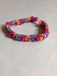 Rainbow loom bracelet with perler beads  By Crafty loomy (rainbowloom.com)