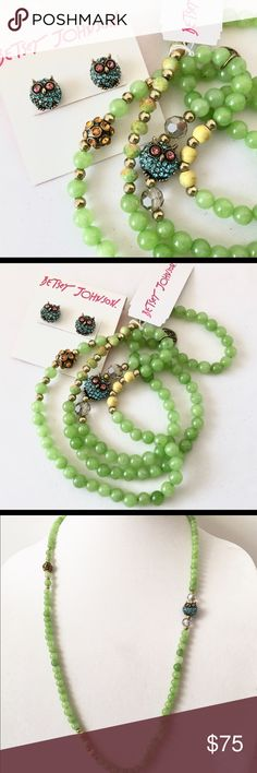 "Betsey J 'Betsey's Delicates"" Owl Green Set  NWT! From a cute retired collection. Stretch necklace/bracelet features semi-precious stones, crystals, beads and the cute blue pave' crystal owl. NWT.   Stud earrings match necklace. Marked on backs. NWT.   No longer in stores. Very cute! Betsey Johnson Jewelry Necklaces"