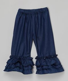 This Denim Triple-Ruffle Pants - Infant, Toddler & Girls is perfect! #zulilyfinds