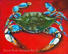 Louisiana Blue Crab, Louisiana Seafood Art, Gulf of Mexico Blue Crab, Louisiana Crab, Louisiana Art - 'Louisiana Blue on Red' Louisiana Seafood, Louisiana Art, Mexico Blue, Gulf Of Mexico, Crab Painting, Artist Painting, Crab Art, Fish Art, New Orleans Art