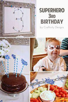 Superhero Birthday Party, superhero theme food, crafts, games and decor