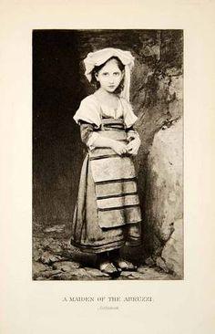 1905 Photogravure Jalabert Art Maiden Child Girl Abruzzi Italy Costume Fashion