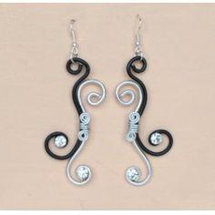 Boucles d'oreilles en fils d'aluminium noir et argent + strass BOA300