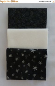 YEAR END SALE Cotton Fabric, Quilt, Home Decor, Christmas Fat Quarter Bundle of 3, Black, White, Rjr Fabrics,Fq345 Fast Shipping