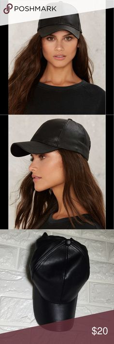 """🆕💛Rack14 ballin vegan leather baseball cap Cap it off. The Ballin' Baseball Cap is made in black vegan leather and features a classic design and adjustable velcro closure at back. Content. 50% PU. 50% Cotton. 23""""/58.4cm circumference. 3""""/7.6cm brim length. Color: black Nasty Gal Accessories Hats"""