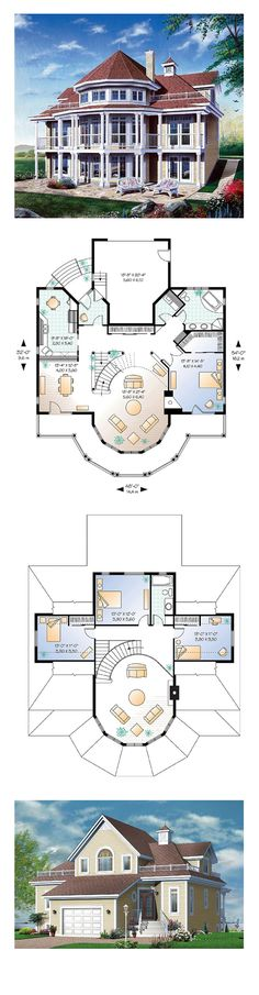 Victorian House Plan 64807 | Total Living Area: 2348 sq. ft., 4 bedrooms and 2 bathrooms. Distinctive elements: Exterior covered balcony on two levels and accessible from family room and master bedroom, see-thru fireplace shared between family room and master bedroom, large front entrance foyer, access to basement from garage, corner bath and dual sinks in bathroom on main level. #houseplan #victorianhome