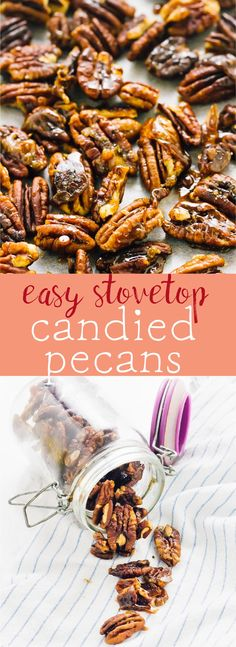 These Easy Stovetop Candied Pecans are deliciously crunchy, vegan, gluten free and paleo. They are perfect for topping everything from breakfasts to salads to desserts! via https://jessicainthekitchen.com