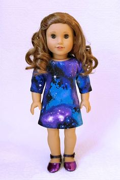 15 Inch Doll Clothes Planets and Stars on Black Jumper and Red T Shirt handmade by Jane Ellen to fit 15 inch baby dolls