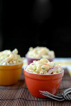 Macaroni Salad-macaroni, lite mayonnaise, milk, lemon juice, celery, red onion, carrot, parsley, salt, pepper.