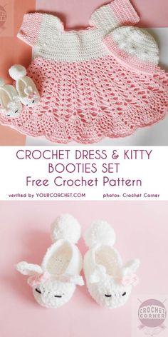 Crochet Dress and Kitty Baby Booties Set Free Pattern