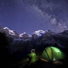 Photographic Print: Night camping around Lake Oeschinensee Bernese Oberland Kandersteg Canton of Bern Switzerland Europ by ClickAlps : 16x16in