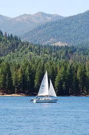 Sailing on Lake Siskiyou, Mt. Shasta, California, USA
