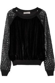 Emilio Pucci Lace-sleeved velvet sweatshirt | NET-A-PORTER