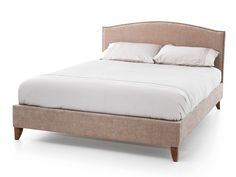 Classic designer upholstered fabric king size bed frame in a twill style mink beige fabric.Prominent upholstery studs give this bed frame a sophisticated, opulent look.Shown with a walnut colour leg.In Stock For FREE Express Delivery. Super King Size Bed, King Size Bed Frame, Mattress Frame, Upholstered Bed Frame, Fabric King Size Bed, Fabric Beds, Bed Centre, Beds Uk, Stylish Beds