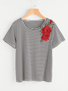 Shop 3D Embroidered Applique Striped T-shirt online. SheIn offers 3D Embroidered Applique Striped T-shirt & more to fit your fashionable needs.