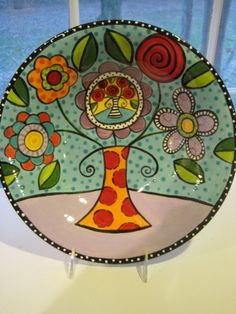 Large Ceramic Bowl vase of flowers design by shannondesigns, $98.00