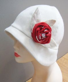 cloche hat sewing pattern white cloche red flower - ecrater