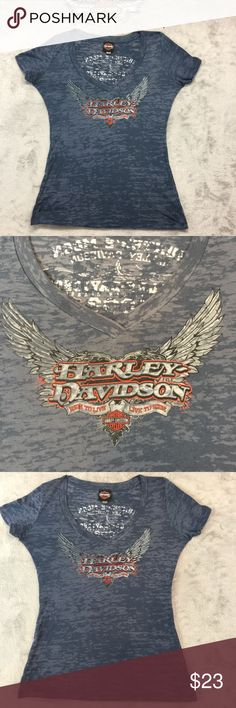 """Harley Davidson Burnout Tee Great color on this deep blue Burnout Tee.  There are no flaws and could pass for new!  Size large 21"""" pit to pit and 18"""" pit to hem. No pets or smoke closet...10% discount on bundles! Harley-Davidson Tops Tees - Short Sleeve"""