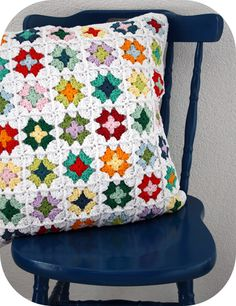 pillow cover granny squares. Recycle an afghan and make a pillow cover.