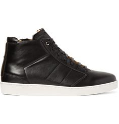 Lennon Panelled Leather High-Top Sneakers | Want Les Essential