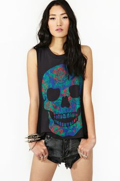 Rose Skull Tank in Clothes Tops at Nasty Gal...£o¥€ the rock in' roll edgy look!