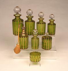 vintage Baccarat vanity set