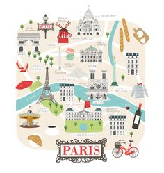 Digital map illustration of Paris. Travel illustration project created for Lovely Streets. Travel Logo, Travel Maps, New Travel, Paris Travel, Paris Illustration, Travel Illustration, Watercolor Illustration, Map Illustrations, Paris Map