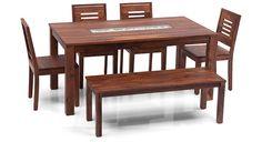 Brighton - Capra 4 Seat + Bench Dining Table Set - Urban Ladder