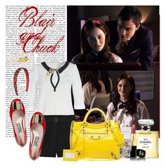 """""""Poison Ivy - s01e03 - Blair and Chuck"""" by thegossiplook ❤ liked on Polyvore featuring Episode, Bebaroque, Yves Saint Laurent, Marc Jacobs, Narciso Rodriguez, Balenciaga, Old Navy, Chanel, Kate Spade and chuck bass"""
