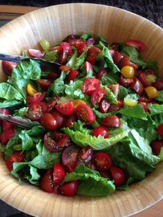 We love our hearty meals, but sometimes a giant green salad with tomatoes is nice.