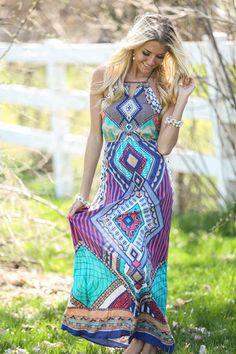 Online boutique. Best outfits. Rain Forest Diamond Maxi Dress - Modern Vintage Boutique