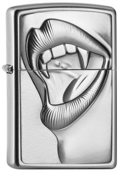 """Zippo Lighter """"Emblem - Anne Stokes Vampire Mouth"""" Anne Stokes, Zippo Collection, Vampire, Emblem, Zippo Lighter, Bright Eyes, Accent Pieces, Rolling Stones, Skull"""