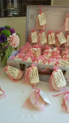 homemade soap wedding favors in a vintage suitcase