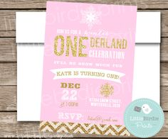 WINTER ONEderland Invitation Gold and Pink Sparkles First Birthday Snow chevron patterns Printable File Baby it's cold outside by littlebirdieprints on Etsy https://www.etsy.com/listing/204077570/winter-onederland-invitation-gold-and