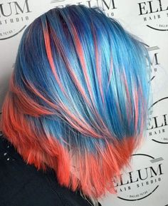Blue and salmon-pink colored hair