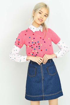 Manoush Maille Polka Dot Pink Top - Urban Outfitters